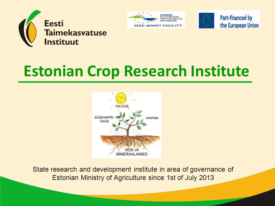 Estonian Crop Research Institute 1946 (Estonian Academy of Science) Estonian Research Institute of Agriculture and Land Reclamation 1956 (Ministry of Agriculture) Jõgeva Plant Breeding 1920 Jõgeva Plant Breeding Institute 1992