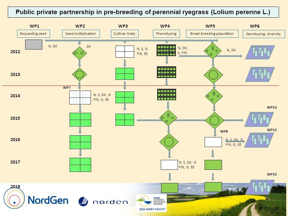 2012 2013 WP1WP3WP2 2016 2015 2014 WP4WP5 WP7 WP6 Requesting seedCultivar trialsSeed multiplicationPhenotypingBroad breeding population Genotyping, diversity 2017 2018 WP8 N, DK DK N, S, IS FIN, EE N, DK, S, FIN N, S, DK, IS FIN, IS, EE N, DK N, S, DK, IS FIN, IS, EE N, S, DK, IS FIN, IS, EE Public private partnership in pre-breeding of perennial ryegrass (Lolium perenne L.) WP10 10