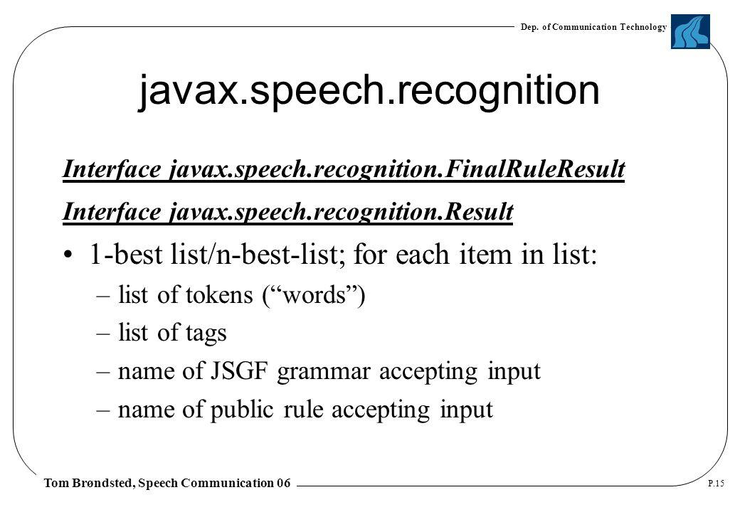 Dep. of Communication Technology Tom Brøndsted, Speech Communication 06 P.15 javax.speech.recognition Interface javax.speech.recognition.FinalRuleResu