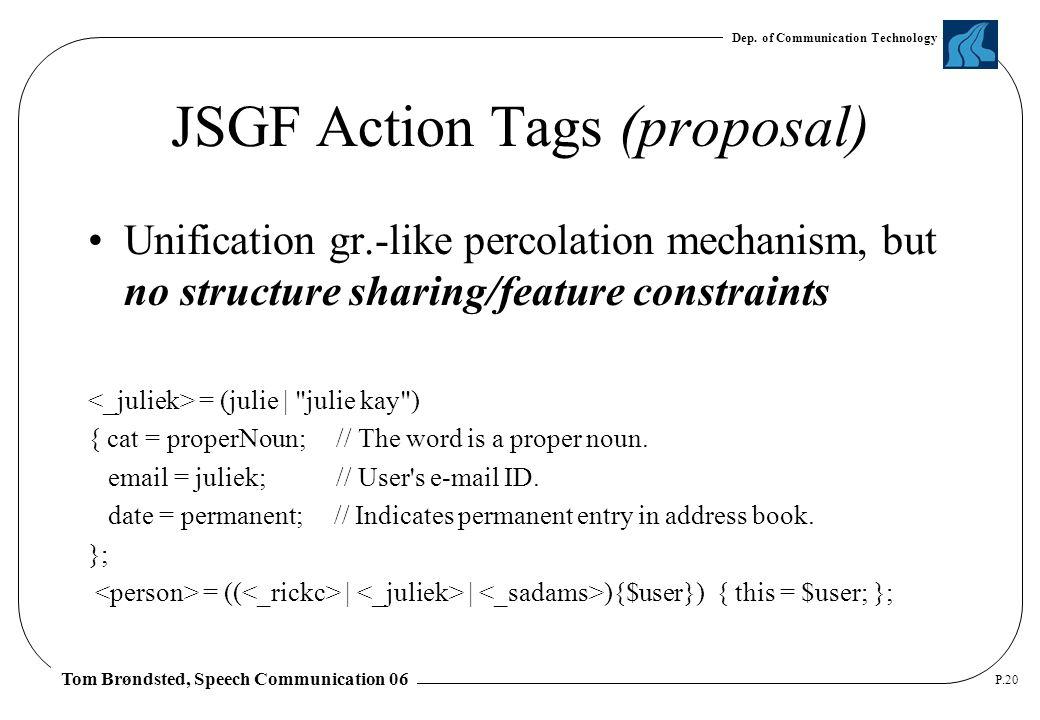 Dep. of Communication Technology Tom Brøndsted, Speech Communication 06 P.20 JSGF Action Tags (proposal) Unification gr.-like percolation mechanism, b