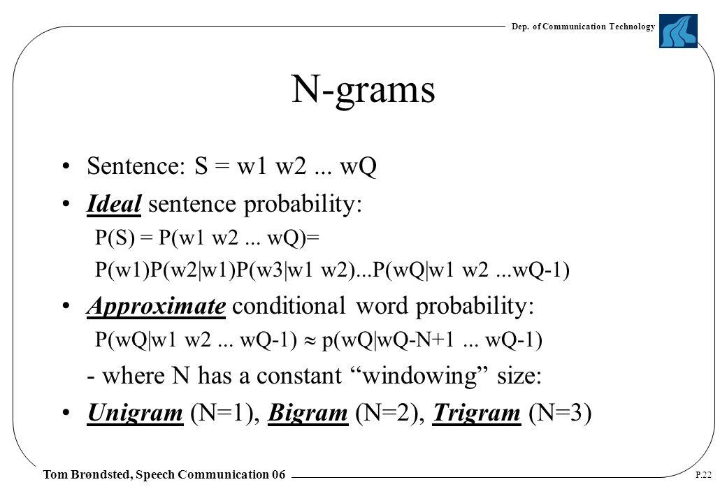 Dep. of Communication Technology Tom Brøndsted, Speech Communication 06 P.22 N-grams Sentence: S = w1 w2... wQ Ideal sentence probability: P(S) = P(w1