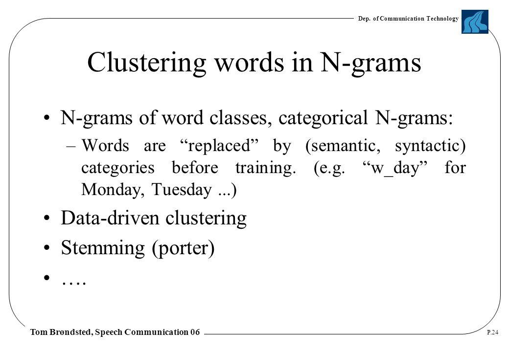 Dep. of Communication Technology Tom Brøndsted, Speech Communication 06 P.24 Clustering words in N-grams N-grams of word classes, categorical N-grams: