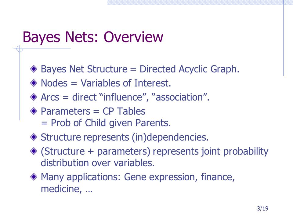 "Bayes Nets: Overview Bayes Net Structure = Directed Acyclic Graph. Nodes = Variables of Interest. Arcs = direct ""influence"", ""association"". Parameters"