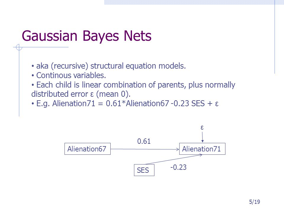 Gaussian Bayes Nets 5/19 aka (recursive) structural equation models. Continous variables. Each child is linear combination of parents, plus normally d
