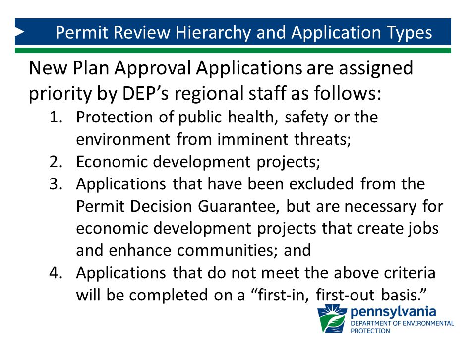 The applicant is responsible for submitting a complete application that contains the information needed by DEP to make permitting decisions.