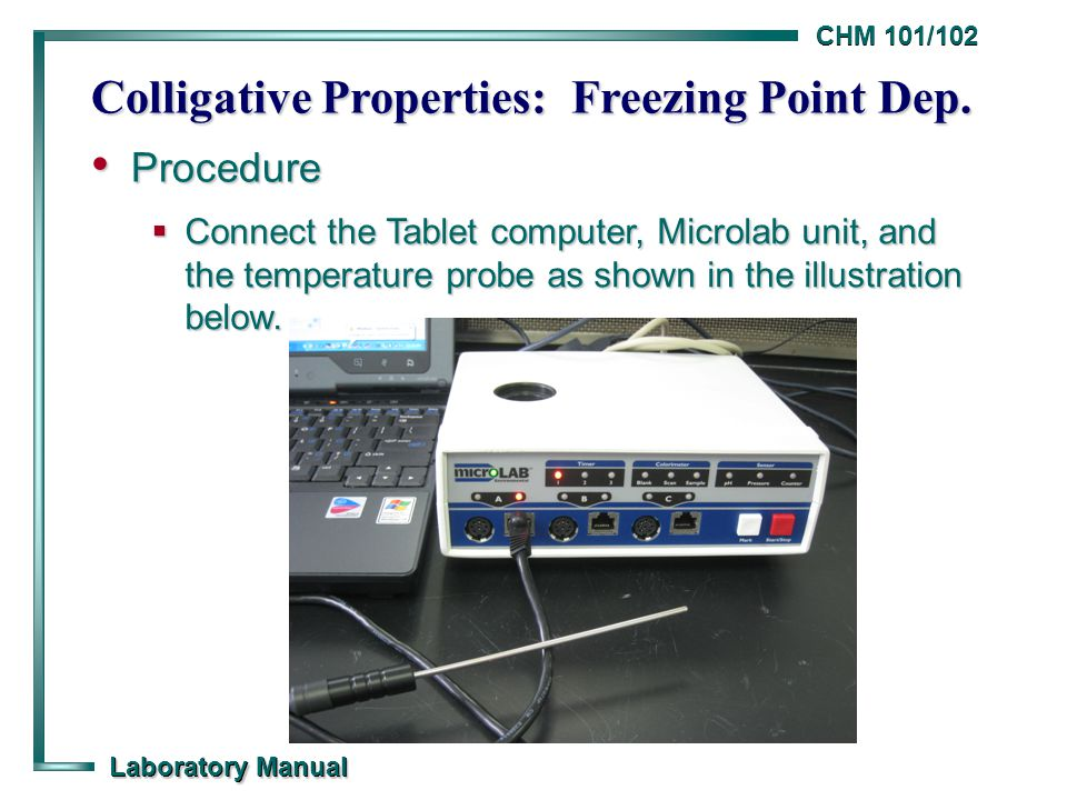 CHM 101/102 Laboratory Manual Colligative Properties: Freezing Point Dep. Procedure Procedure  Connect the Tablet computer, Microlab unit, and the te