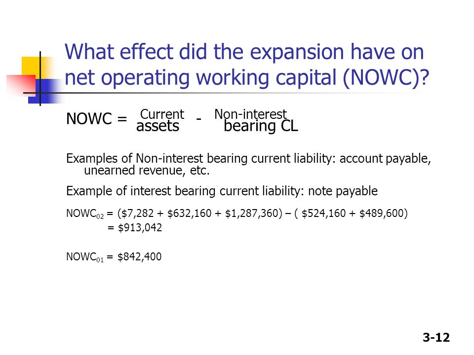 3-12 What effect did the expansion have on net operating working capital (NOWC).