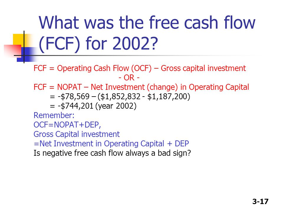 3-17 What was the free cash flow (FCF) for 2002.
