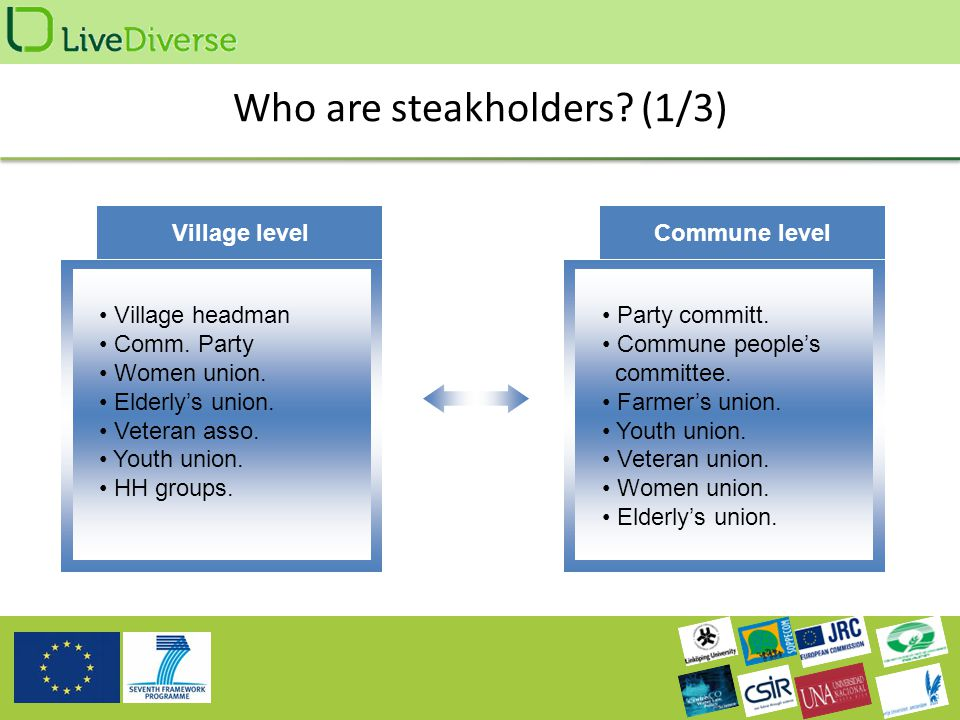 Who are steakholders. (1/3) Village level Village headman Comm.