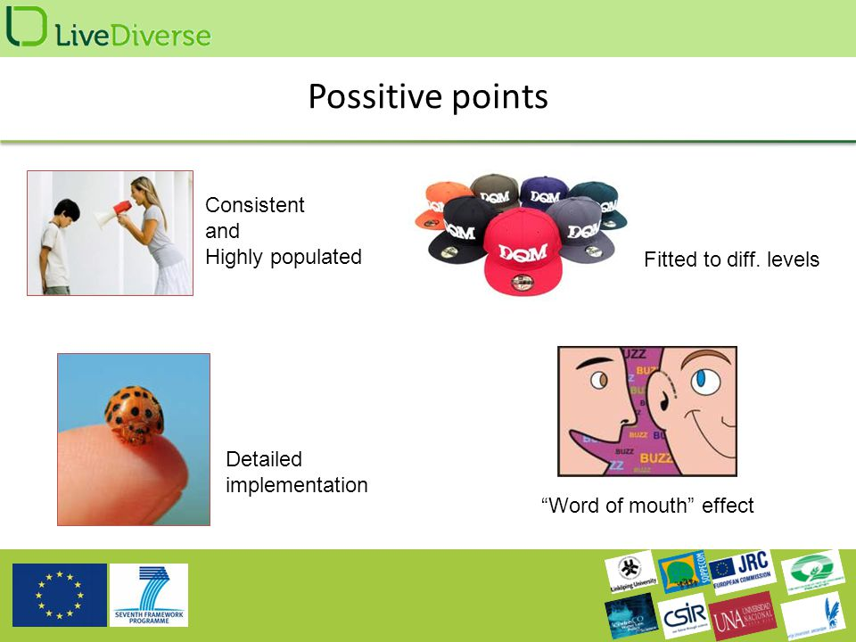Possitive points Consistent and Highly populated Detailed implementation Word of mouth effect Fitted to diff.