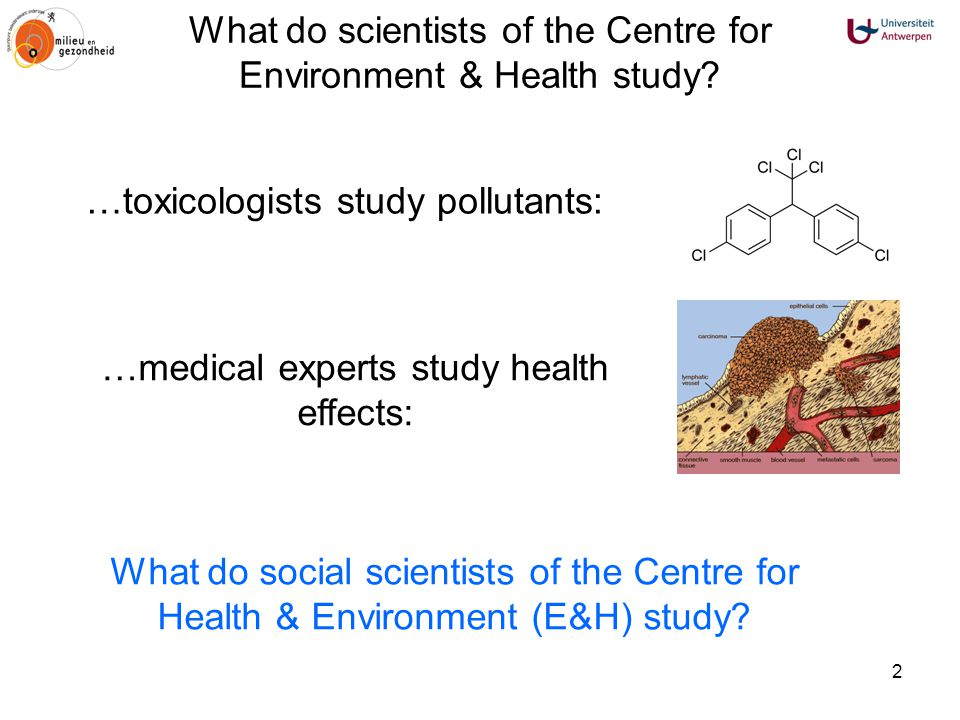 2 What do scientists of the Centre for Environment & Health study? What do social scientists of the Centre for Health & Environment (E&H) study? …medi