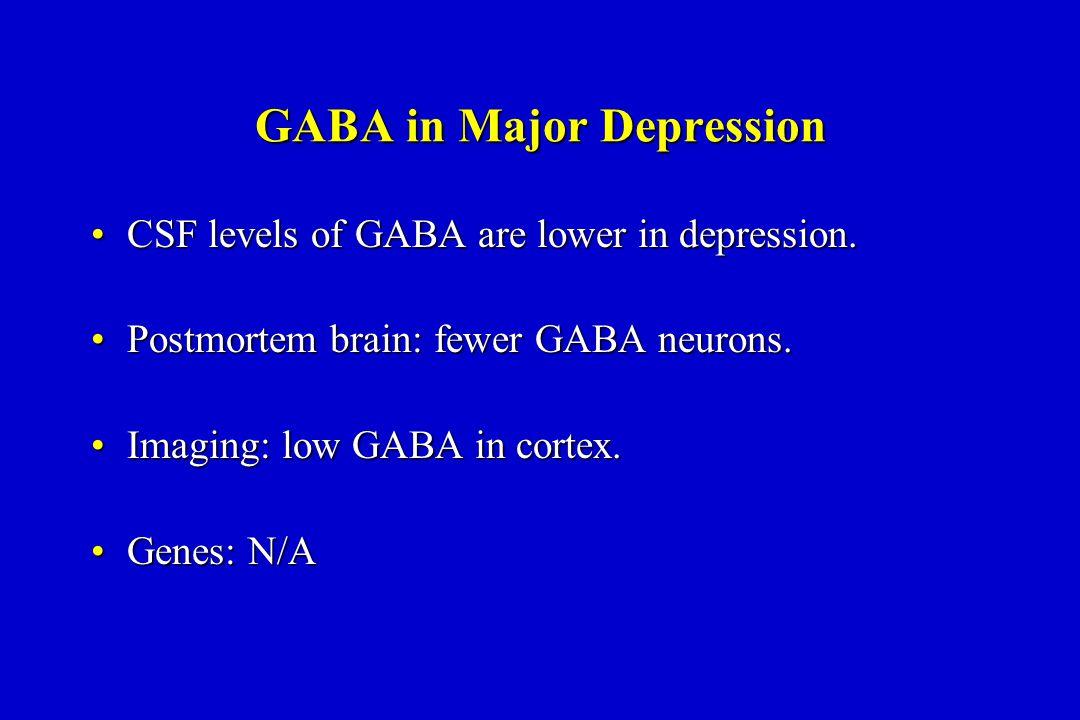 GABA in Major Depression CSF levels of GABA are lower in depression.CSF levels of GABA are lower in depression.
