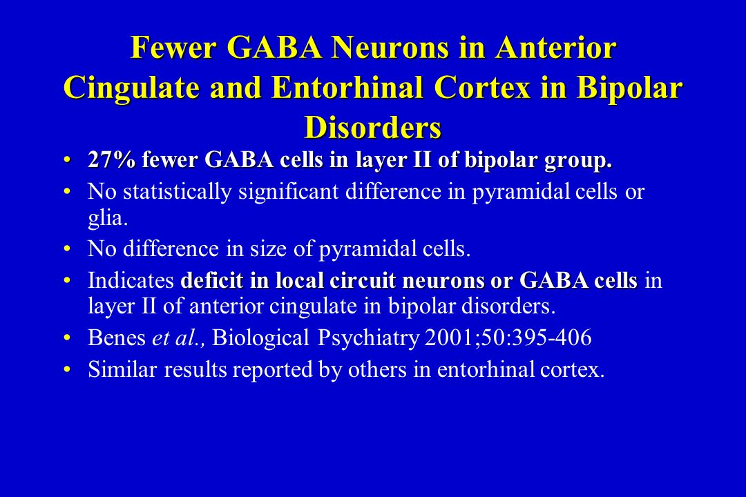Fewer GABA Neurons in Anterior Cingulate and Entorhinal Cortex in Bipolar Disorders 27% fewer GABA cells in layer II of bipolar group.27% fewer GABA cells in layer II of bipolar group.