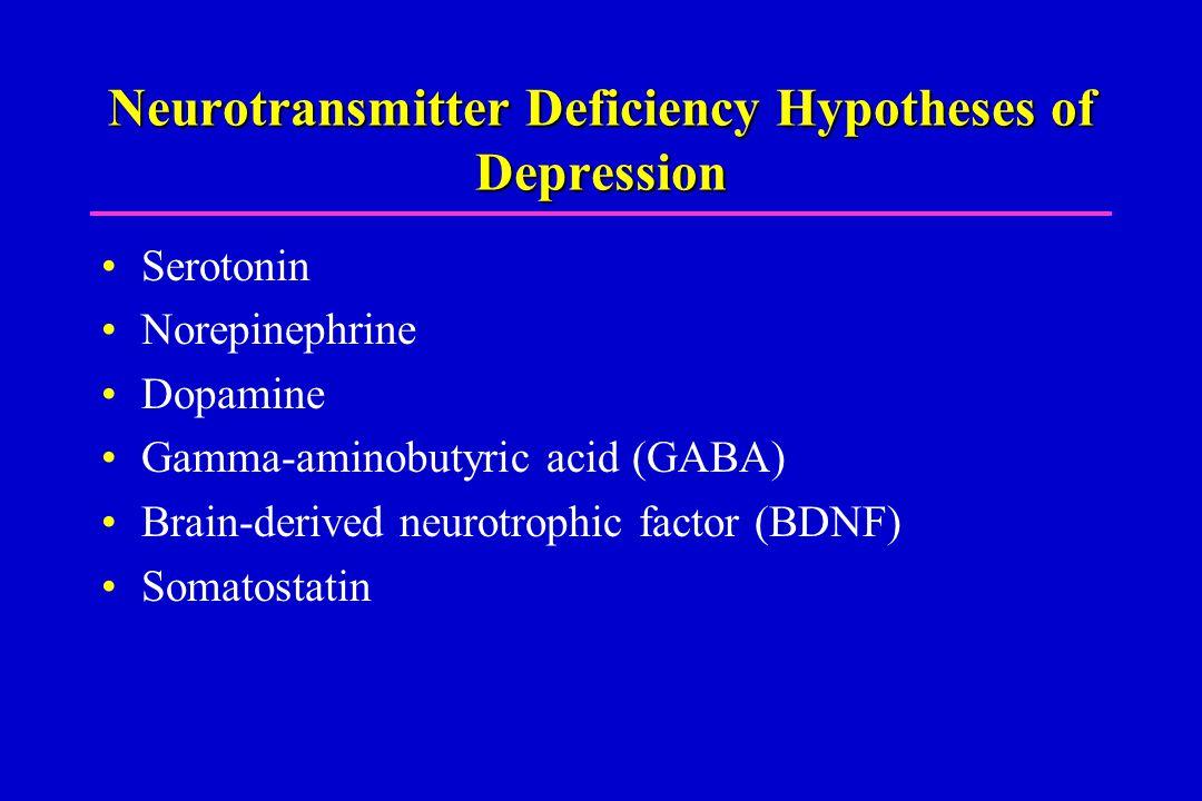 Neurotransmitter Deficiency Hypotheses of Depression Serotonin Norepinephrine Dopamine Gamma-aminobutyric acid (GABA) Brain-derived neurotrophic factor (BDNF) Somatostatin