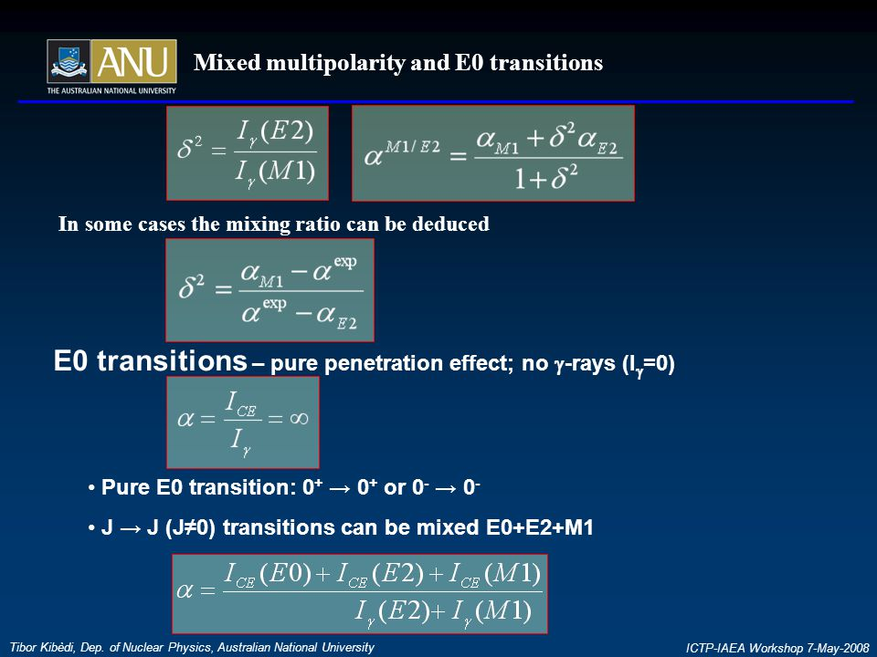 Mixed multipolarity and E0 transitions Tibor Kibèdi, Dep.
