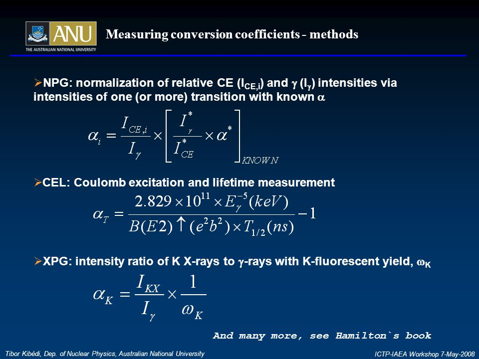 Measuring conversion coefficients - methods Tibor Kibèdi, Dep.