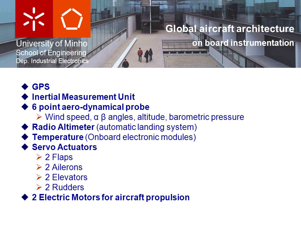 University of Minho School of Engineering Dep. Industrial Electronics Global aircraft architecture on board instrumentation  GPS  Inertial Measureme
