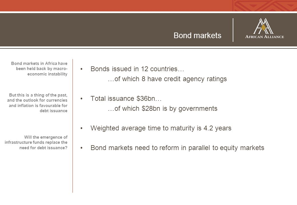 Bond markets Bonds issued in 12 countries… …of which 8 have credit agency ratings Total issuance $36bn… …of which $28bn is by governments Weighted average time to maturity is 4.2 years Bond markets need to reform in parallel to equity markets Bond markets in Africa have been held back by macro- economic instability But this is a thing of the past, and the outlook for currencies and inflation is favourable for debt issuance Will the emergence of infrastructure funds replace the need for debt issuance