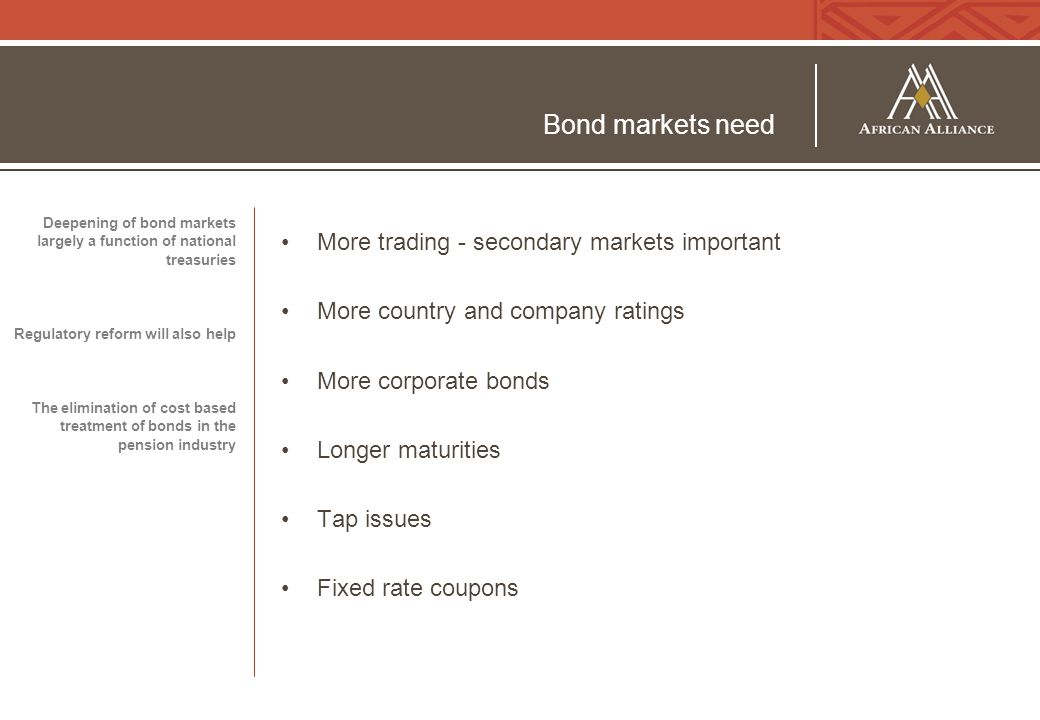 Bond markets need More trading - secondary markets important More country and company ratings More corporate bonds Longer maturities Tap issues Fixed