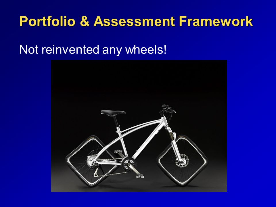 Portfolio & Assessment Framework Not reinvented any wheels!