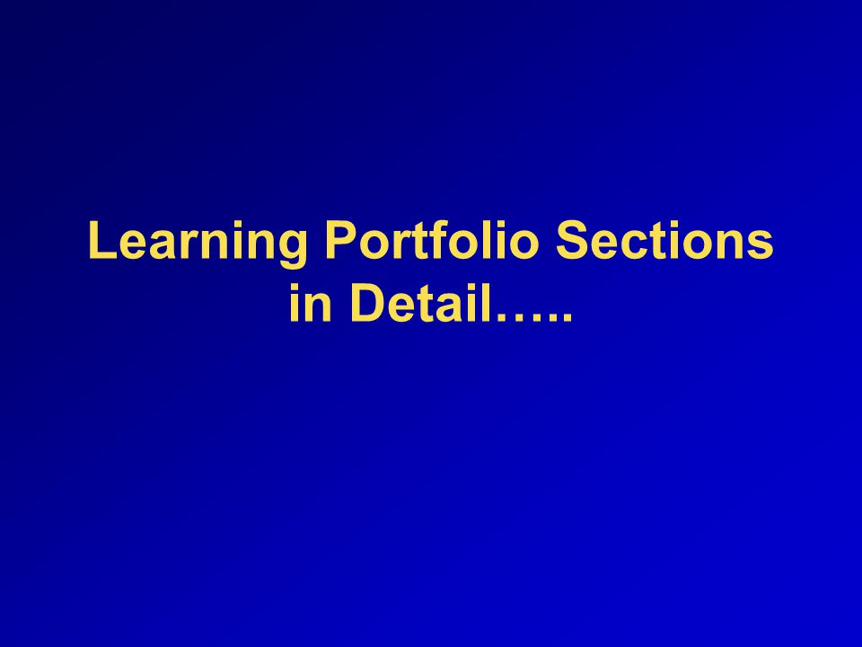 Learning Portfolio Sections in Detail…..