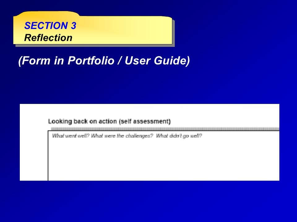 SECTION 3 Reflection SECTION 3 Reflection (Form in Portfolio / User Guide)