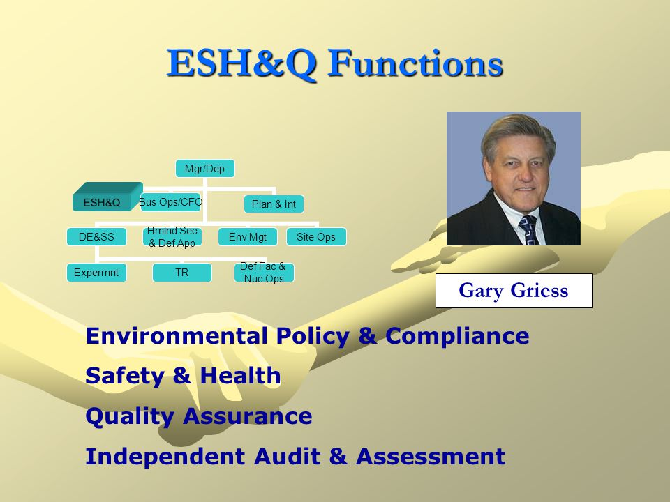 ESH&Q Functions Mgr/Dep ESH&Q Bus Ops/CFO Plan&IntegPlan & IntDE&SS TR Def Fac & Nuc Ops Expermnt Hmlnd Sec & Def App Env MgtSite Ops Environmental Policy & Compliance Safety & Health Quality Assurance Independent Audit & Assessment Gary Griess