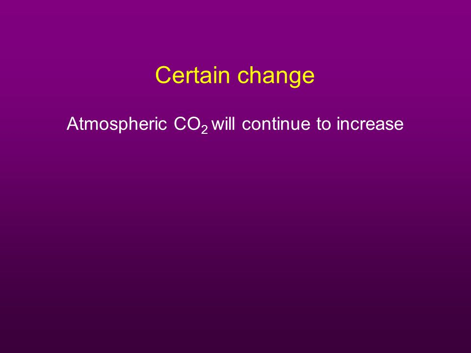 Certain change Atmospheric CO 2 will continue to increase