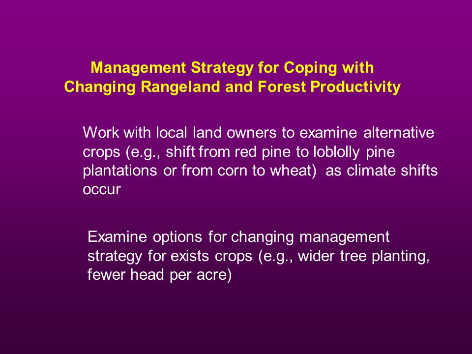 Management Strategy for Coping with Changing Rangeland and Forest Productivity Work with local land owners to examine alternative crops (e.g., shift from red pine to loblolly pine plantations or from corn to wheat) as climate shifts occur Examine options for changing management strategy for exists crops (e.g., wider tree planting, fewer head per acre)