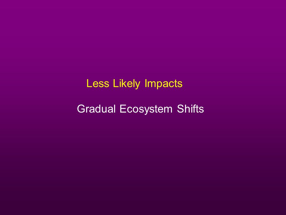 Less Likely Impacts Gradual Ecosystem Shifts