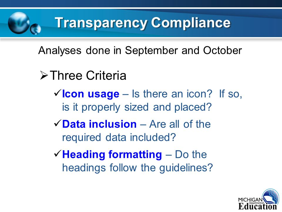  Three Criteria Icon usage – Is there an icon. If so, is it properly sized and placed.