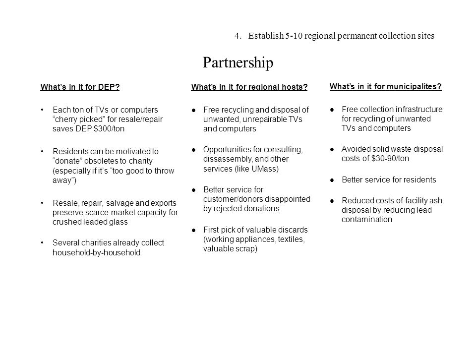 Partnership What's in it for DEP.
