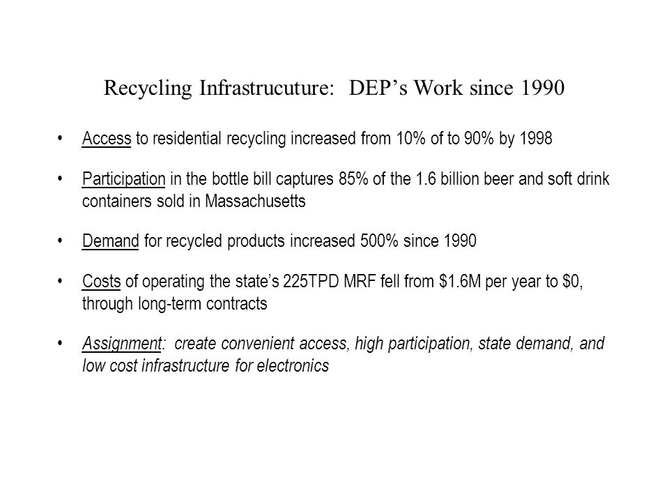 Recycling Infrastrucuture: DEP's Work since 1990 Access to residential recycling increased from 10% of to 90% by 1998 Participation in the bottle bill captures 85% of the 1.6 billion beer and soft drink containers sold in Massachusetts Demand for recycled products increased 500% since 1990 Costs of operating the state's 225TPD MRF fell from $1.6M per year to $0, through long-term contracts Assignment: create convenient access, high participation, state demand, and low cost infrastructure for electronics