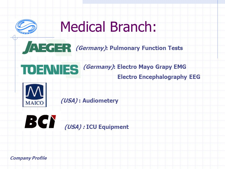 Medical Branch: (Germany): Pulmonary Function Tests (Germany): Electro Mayo Grapy EMG Electro Encephalography EEG Company Profile (USA) : Audiometery (USA) : ICU Equipment