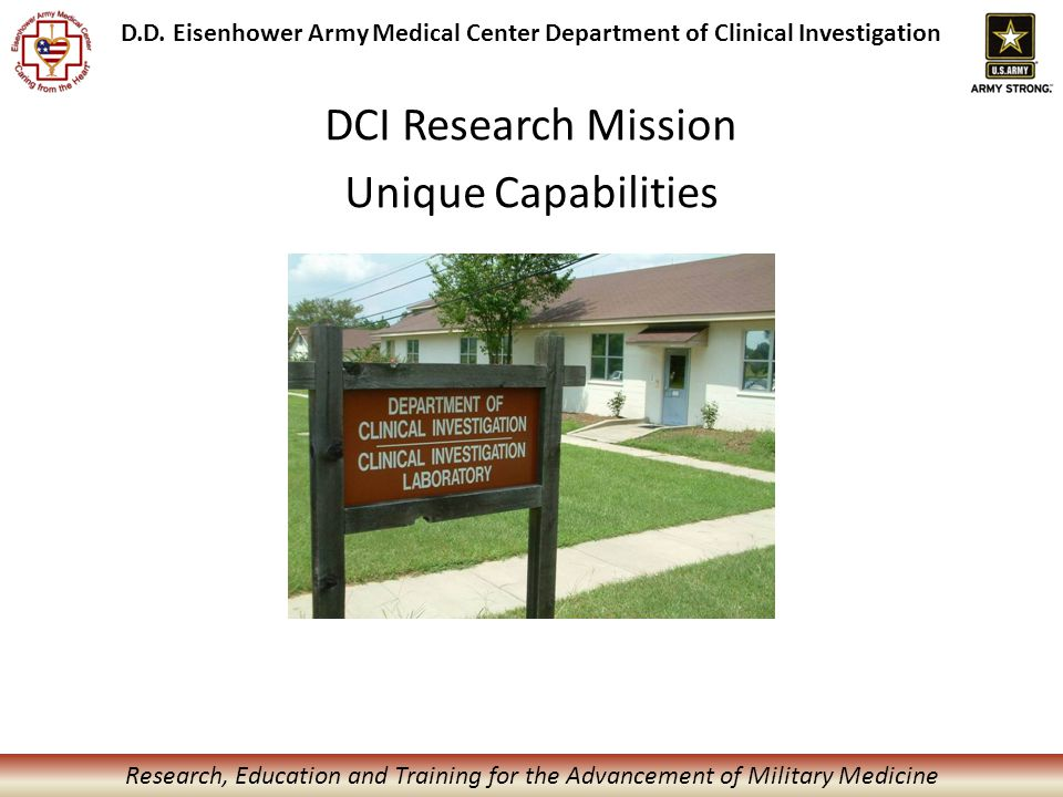 Research, Education and Training for the Advancement of Military Medicine D.D.