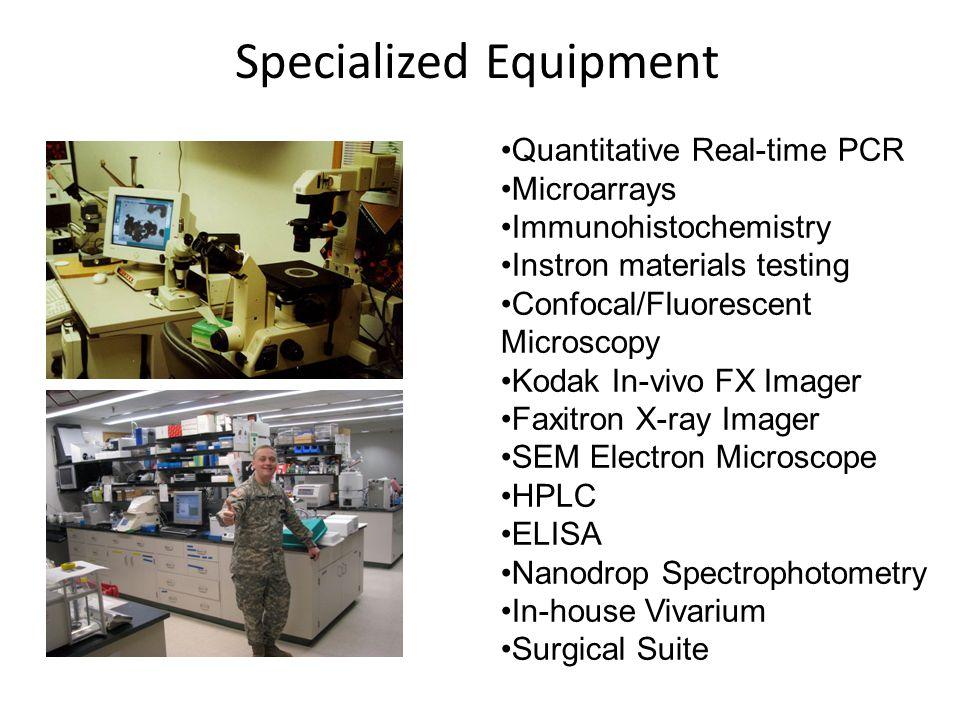 Quantitative Real-time PCR Microarrays Immunohistochemistry Instron materials testing Confocal/Fluorescent Microscopy Kodak In-vivo FX Imager Faxitron X-ray Imager SEM Electron Microscope HPLC ELISA Nanodrop Spectrophotometry In-house Vivarium Surgical Suite Specialized Equipment