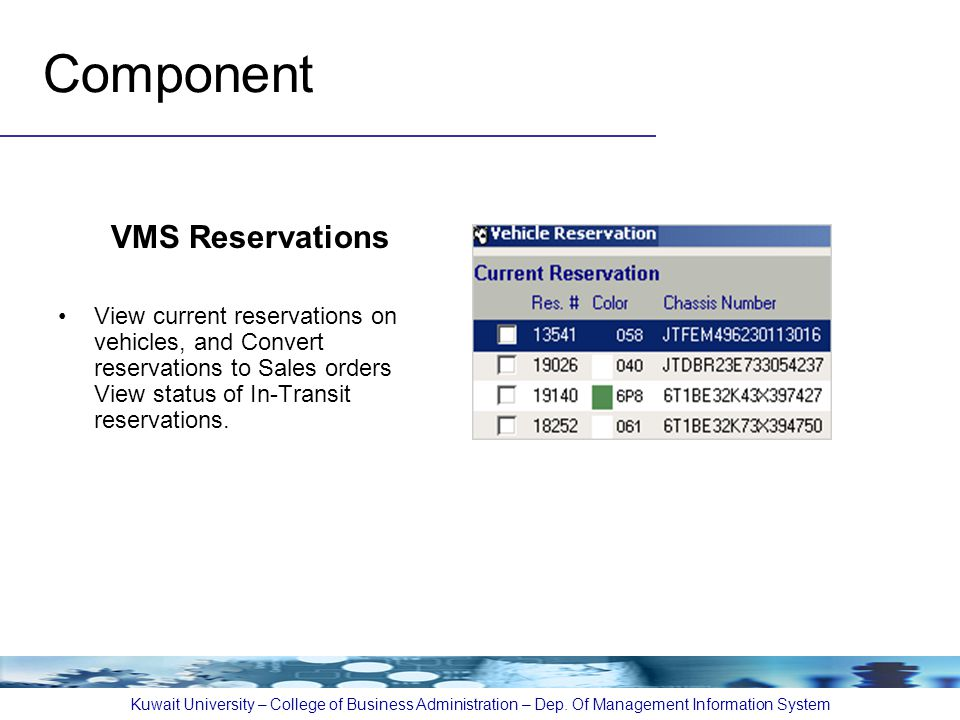 Component VMS Reservations View current reservations on vehicles, and Convert reservations to Sales orders View status of In-Transit reservations. Kuw