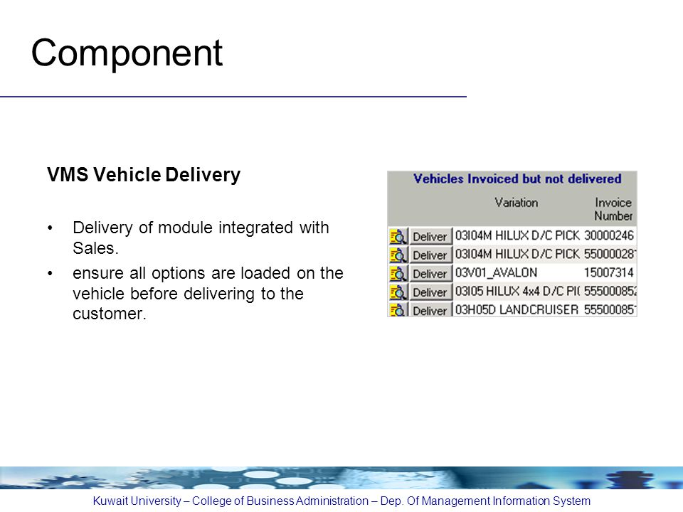 Component VMS Vehicle Delivery Delivery of module integrated with Sales.