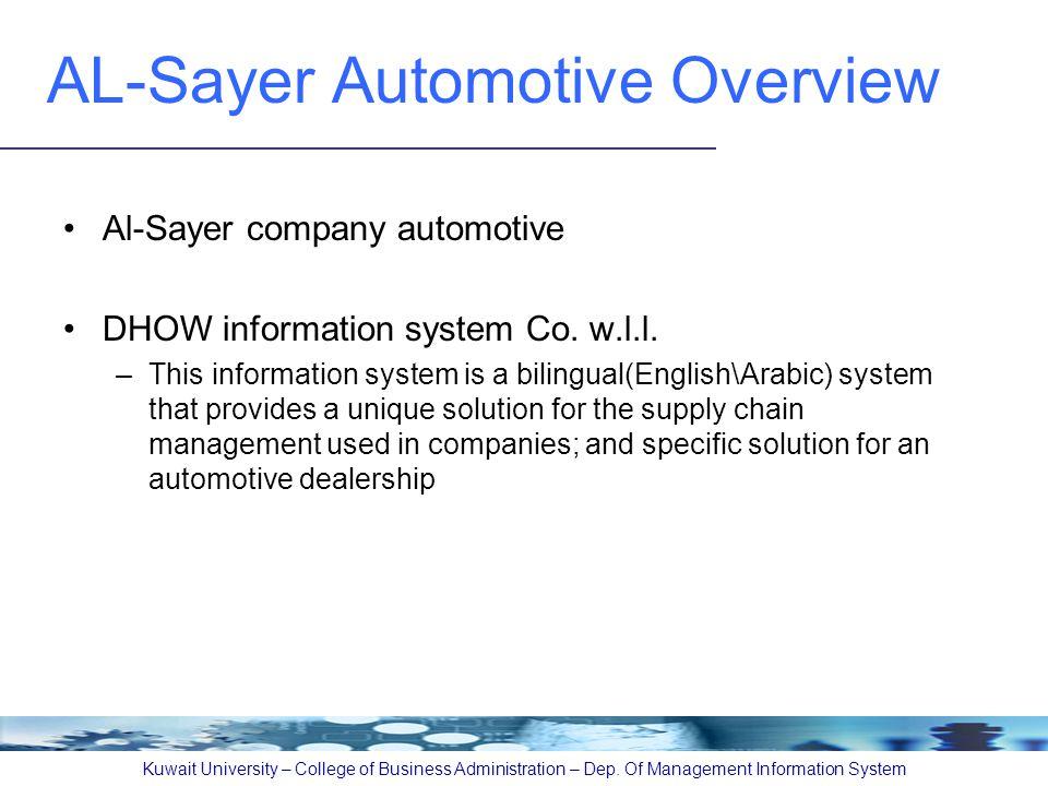 AL-Sayer Automotive Overview Al-Sayer company automotive DHOW information system Co.