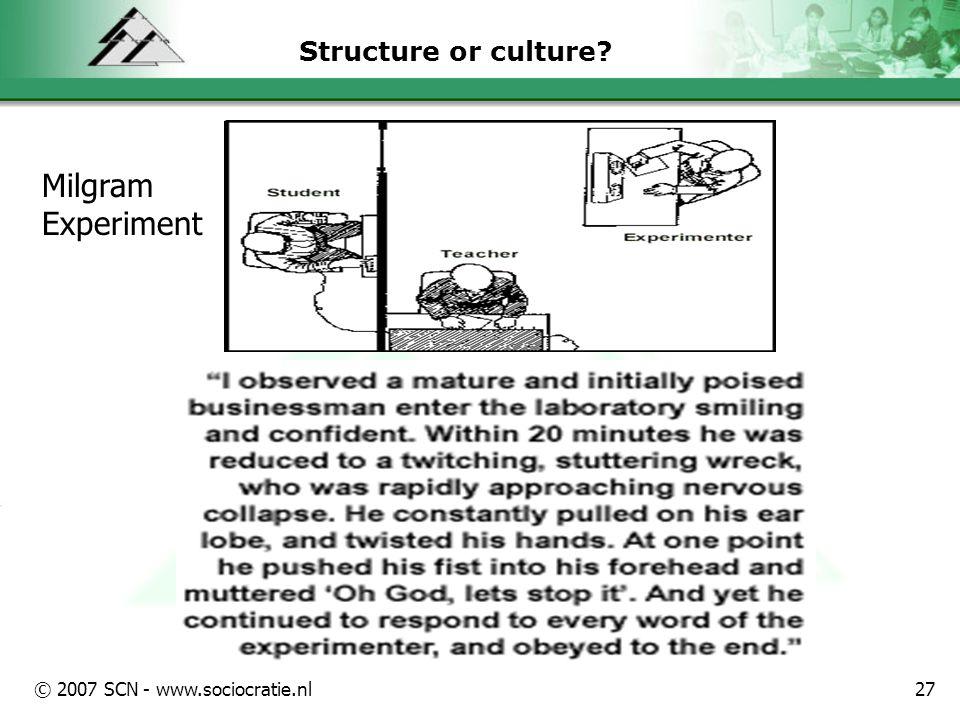 © 2007 SCN - www.sociocratie.nl27 Structure or culture? Milgram Experiment