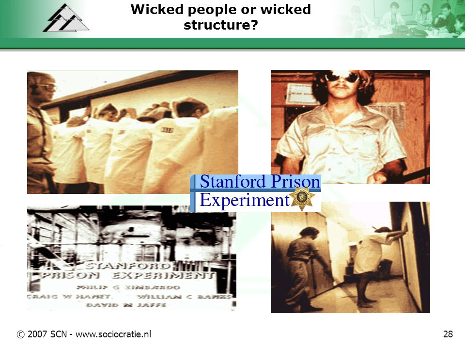 © 2007 SCN - www.sociocratie.nl28 Wicked people or wicked structure