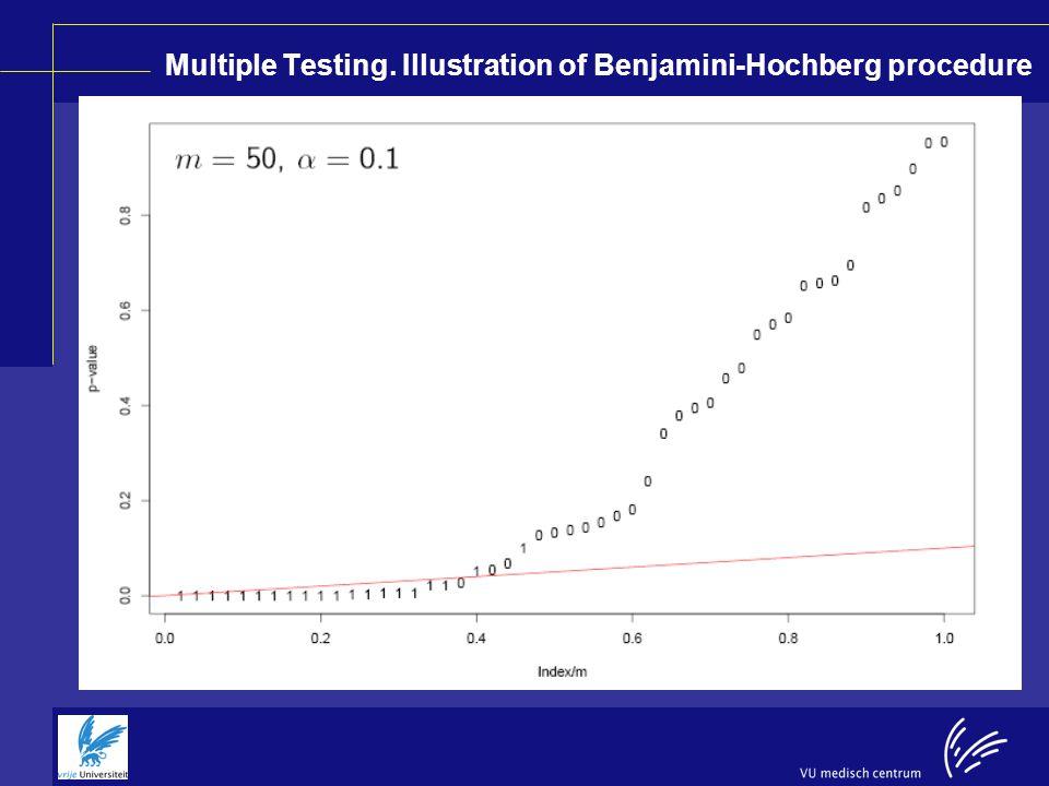 Multiple Testing. Illustration of Benjamini-Hochberg procedure