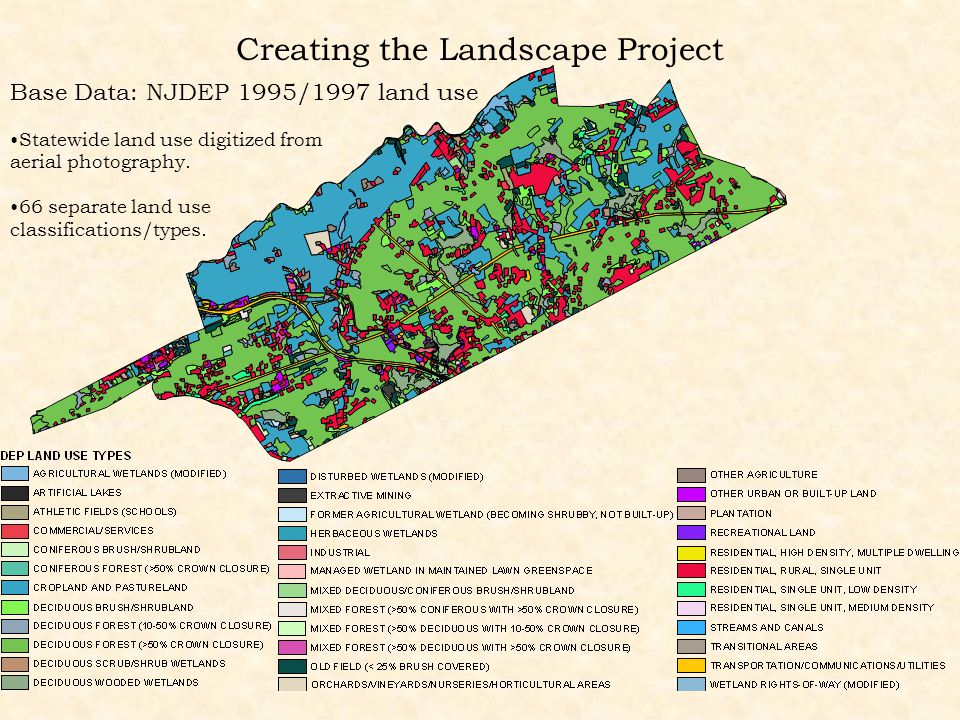 Creating the Landscape Project Base Data: NJDEP 1995/1997 land use Statewide land use digitized from aerial photography. 66 separate land use classifi