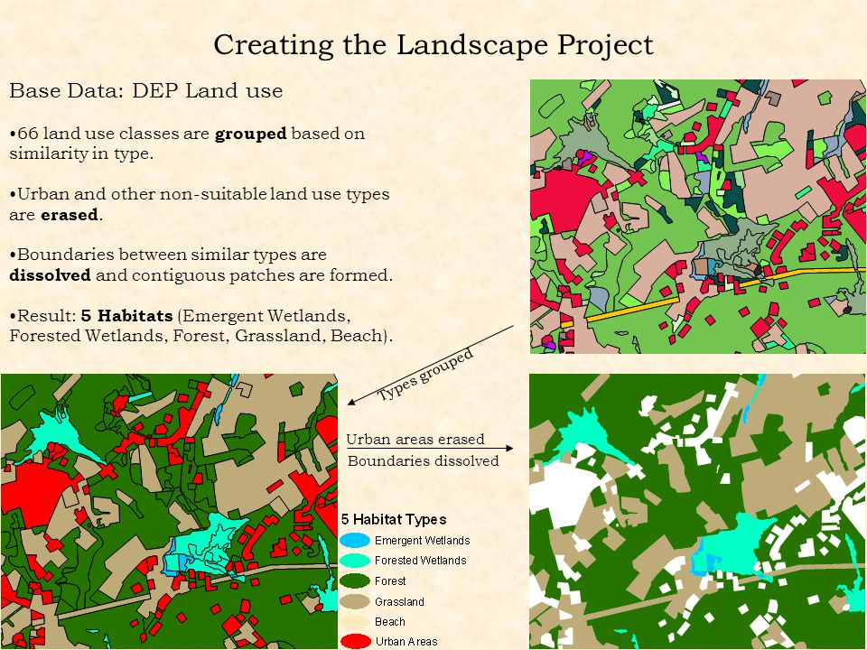 Creating the Landscape Project Base Data: DEP Land use 66 land use classes are grouped based on similarity in type.