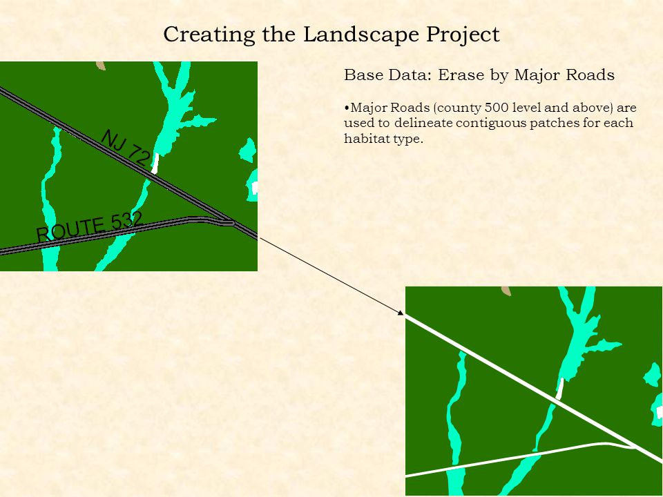 Base Data: Erase by Major Roads Major Roads (county 500 level and above) are used to delineate contiguous patches for each habitat type.