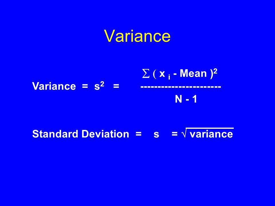 Variance   x i - Mean ) 2 Variance = s 2 = ----------------------- N - 1 Standard Deviation = s =  variance