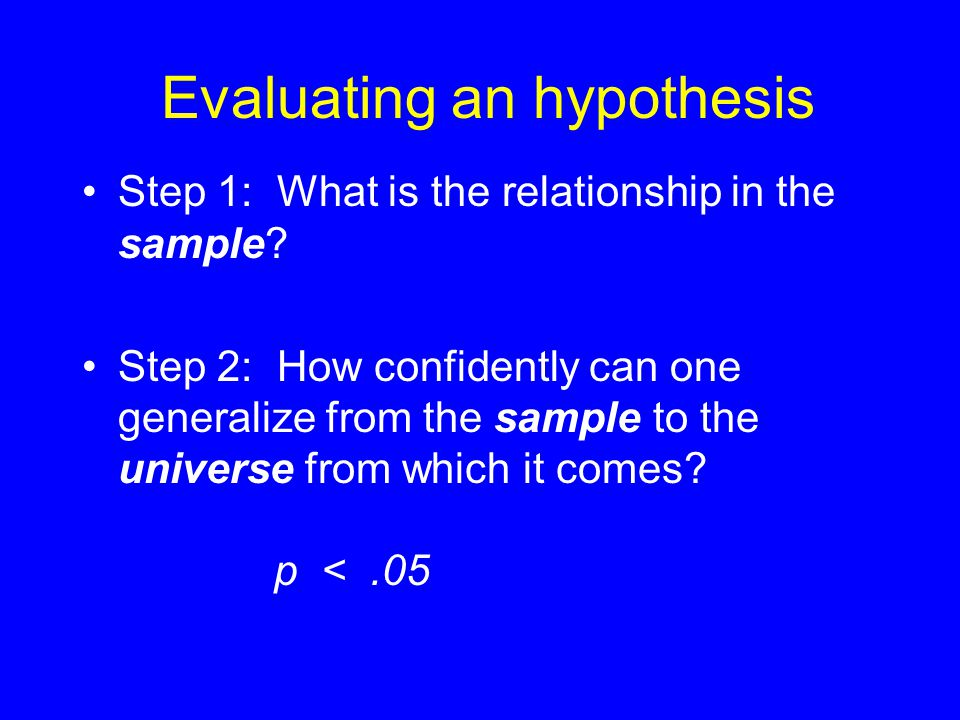 Evaluating an hypothesis Relationship in Sample Statistical Significance 2 nom.