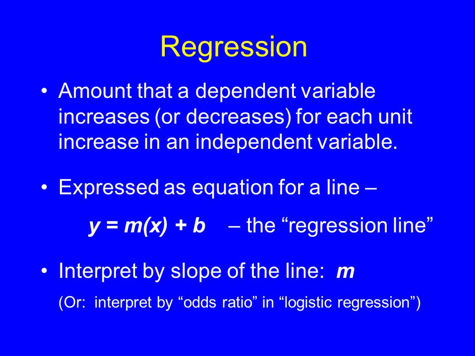 Multiple Regression Regress weight residuals (dependent variable) on caloric intake (independent variable) Statistically controls for height: removes effect or confound of height.