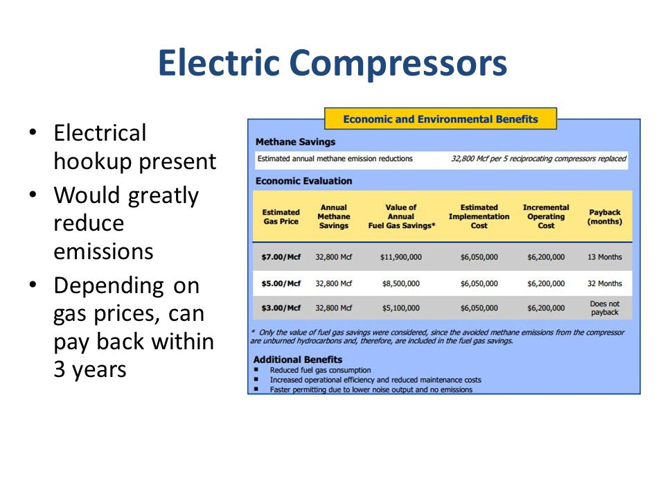 Electric Compressors Electrical hookup present Would greatly reduce emissions Depending on gas prices, can pay back within 3 years
