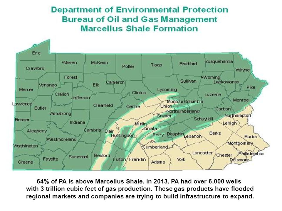 64% of PA is above Marcellus Shale.